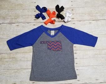 Oklahoma Orange + Blue Bling/Rhinestone on Gray + Blue 3/4 sleeve T-Shirt*** Free Bow with Purchase!