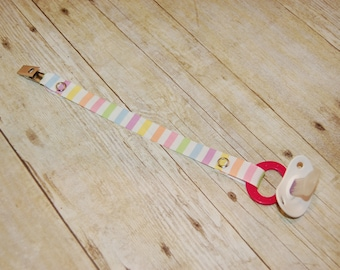 Pacifier Clip, Pastel Stripes, Personalization Available, Ready to Ship