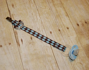 Pacifier Clip, Blue & Chocolate Diamonds, Personalization Available, Ready to Ship