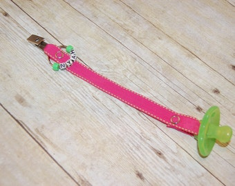 Pacifier Clip, Hot Pink with Lime Saddle Stitch, Personalization Available, Ready to Ship