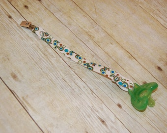 Pacifier Clip, Green & Chocolate Bubbles, Personalization Available, Ready to Ship