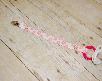 Pacifier Clip, Pink Flowers, Personalization Available, Ready to Ship