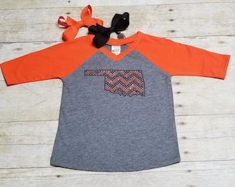 Oklahoma Orange + Black Chevron  Bling/Rhinestone on Gray + Orange 3/4 sleeve T-Shirt*** Free Bow with Purchase!