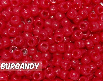 Burgandy Opaque 6x9 mm Barrel Pony Beads