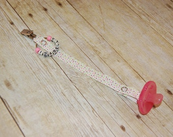Pacifier Clip, Pink Green & Chocolate Sprinkles, Personalization Available, Ready to Ship
