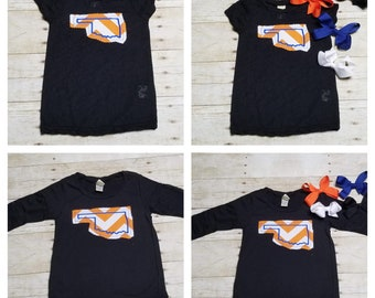 Oklahoma Orange + White Chevron Applique with Blue Detail T shirt Short and Long Sleeve Options*** Free Bow with Purchase!