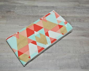 Coral, Mint & Gold Aztec Burp Rag- Ready to Ship