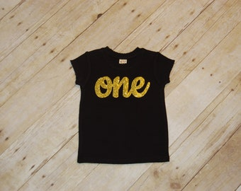 Birthday Shirt, Black with Gold Letters, choose your age