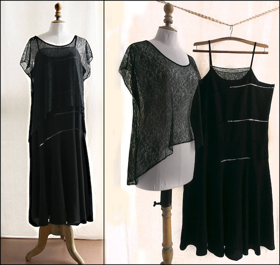 sleeves lace Vintage upcycled tunic Black without 1930's dress SXIqPX