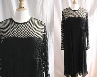 Vintage Little black dress, long transparent sleeves, mesh and silk