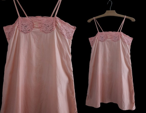 Old lingerie 1920 Dress / shirt in lace and salmon