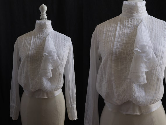 1910's Antique white blouse, cotton veil, pleated… - image 1