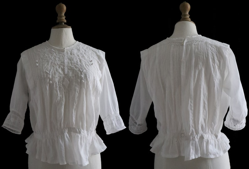 cotton elbow sleeves hand embroidered 1900 s Antique white blouse