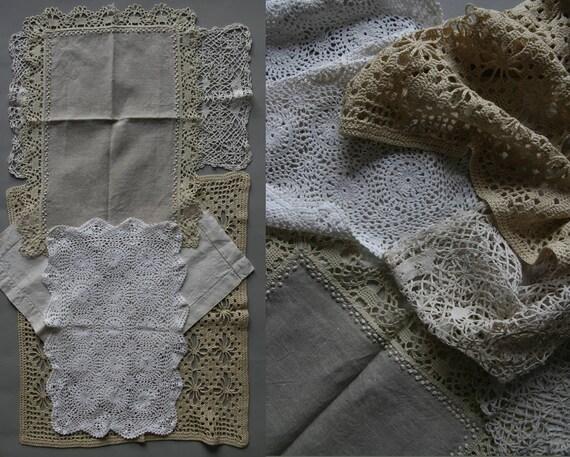 Vintage Joblot of 5 doilies linen crochet bobbin lace  c0c07b6c6