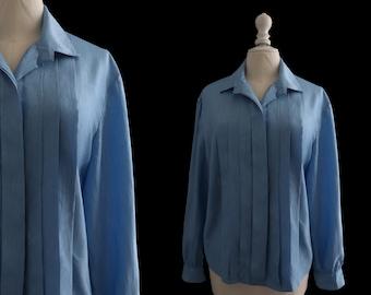 Vintage blouse, long sleeves, Alaskan Blue Sewing work