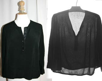 Vintage 1940's, Black silk blouse, long sleeves, upcycled