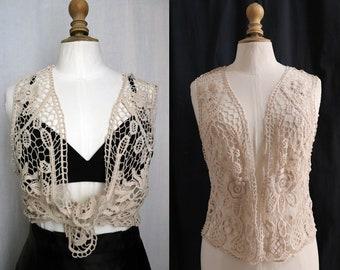 Vintage off-white bolero , cotton guipure, Small
