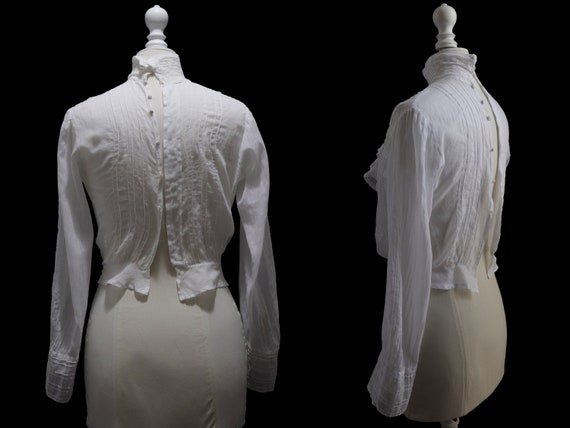 1910's Antique white blouse, cotton veil, pleated… - image 3