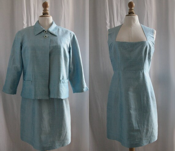jacket suit 70's and dress Silk Vintage light 1960 blue color sleeveless v6gqnwZxft