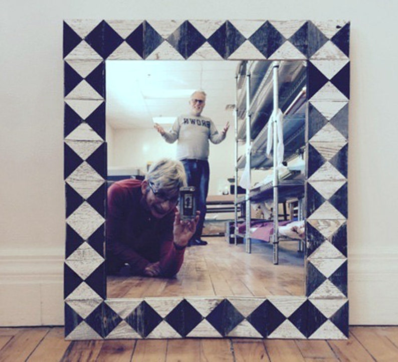 Rustic black and white barn wood mirror made from reclaimed image 0