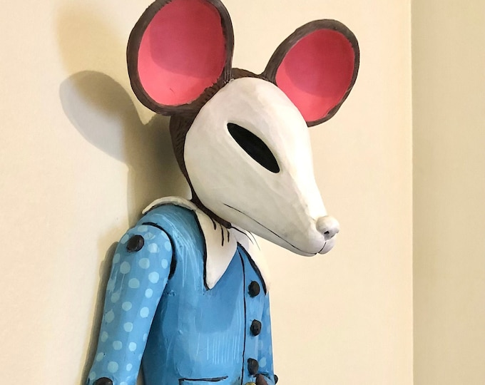 Featured listing image: marionette mouse clay wall art, ceramic sculpture