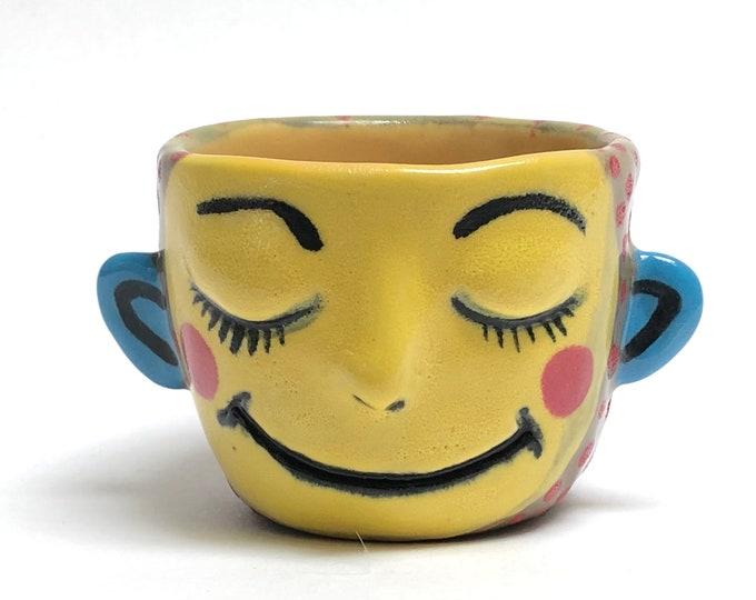 face pot, pinch pot, ceramic pottery, porcelain cup
