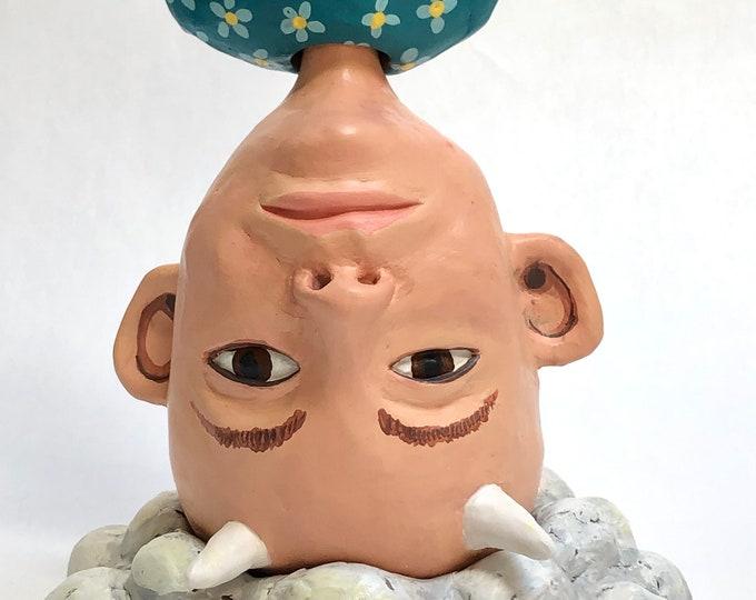 goblin boy on cloud , sculpture, figurative ceramics