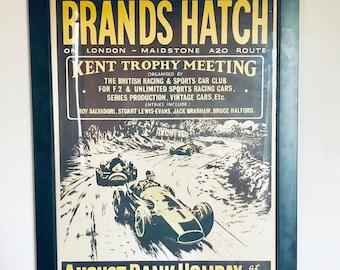 Original Brands Hatch Kent Trophy Poster, 1958, Racing Poster, Antique Alchemy
