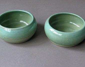 Small pair of Spaniel bowls, dog dishes, pet bowls, handmade, ceramic