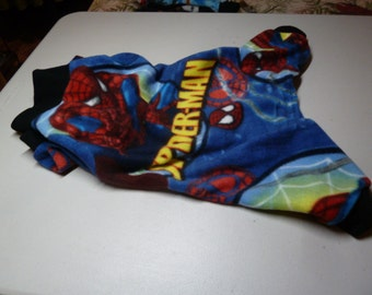 S, M, or L PJs, Fleece Doggy Pajamas, Marvel Comics Pajamas,  Spiderman Doggy Pajamas, Doggy Onesies, Doggy Costume, Winter PJs