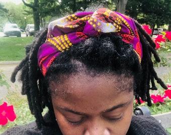 African Print Wire Headband, Wire Headband, head wrap, Large Dreadlock Headband, Large Loc Wrap