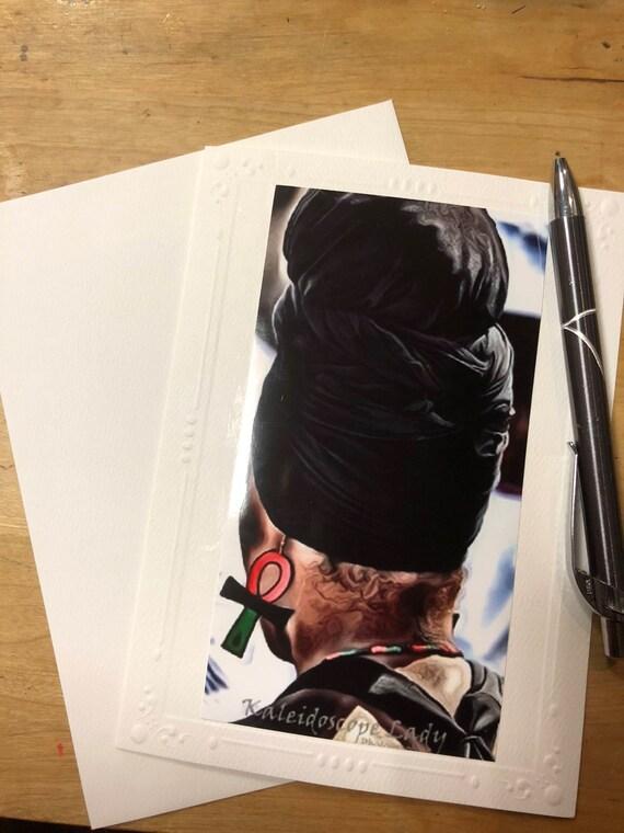Headwrap Greeting Card.  Ankh Earrings Card. Handmade Cards. Afro Art. Locs Art. Friendship Cards. Natural Hair Art