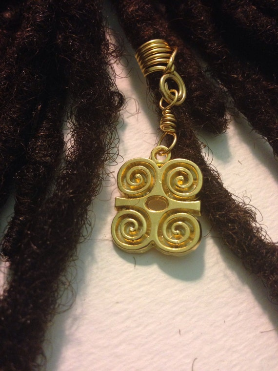 Strength and Humility Dwennimmen African Adinkra Wire Wrapped Hair Bead Dread Locs Dreadlock Jewelry Natural Hair Gift