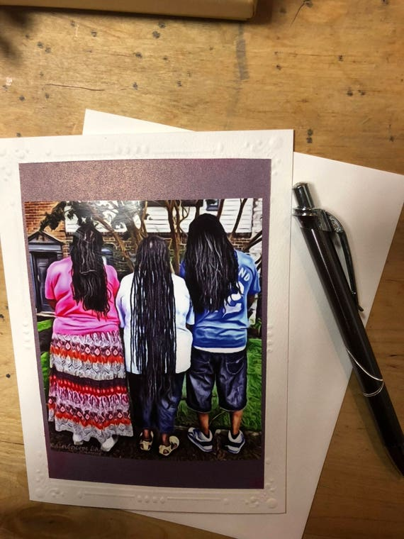 Dreadlock Greeting Card.  Family Card. Handmade Cards. Afro Art. Locs Art. Friendship Cards. Natural Hair Art
