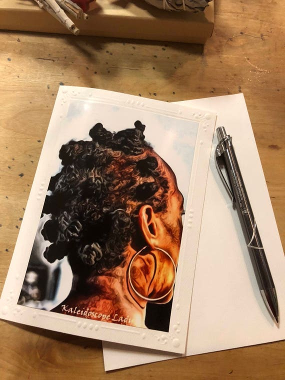 Sisters Bantu Knots. Dreadlock Greeting Card. Handmade Cards. Afro Art. Locs Art. Friendship Cards. Natural Hair Art