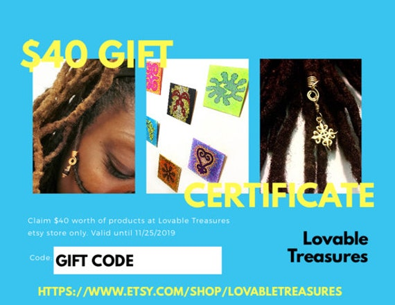 40 Loc Jewelry Gift Certificate. Gift Certificate for Christmas. Gift for Kwanzaa. Last Minute Gift. Etsy Gift Certificate