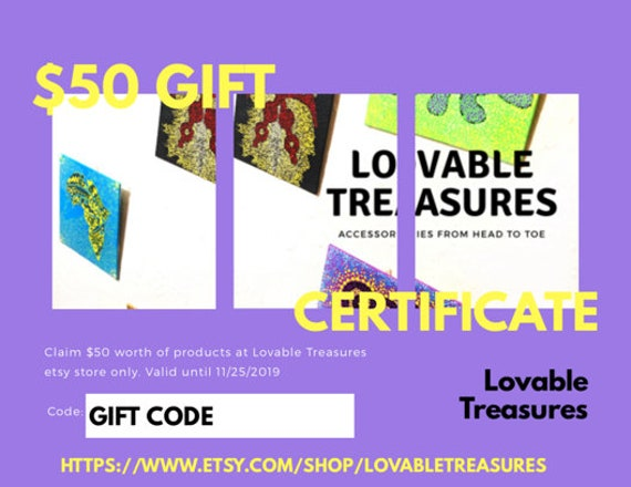 50 Loc Jewelry Gift Certificate. Gift Certificate for Christmas. Gift for Kwanzaa. Last Minute Gift. Etsy Gift Certificate