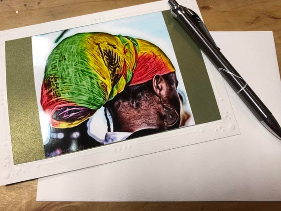 Headwrap Rasta Greeting Card.  Ankh Earrings Card. Handmade Cards. Afro Art. Locs Art. Friendship Cards. Natural Hair Art
