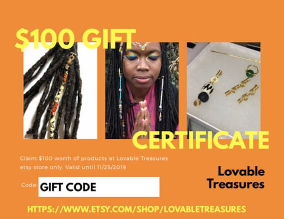 100 Loc Jewelry Gift Certificate. Gift Certificate for Christmas. Gift for Kwanzaa. Last Minute Gift. Etsy Gift Certificate