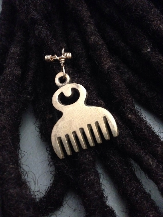 Adjustable Adinkra Duafe Beauty Cleanliness Symbol Hair Cuffs Wire Wrapped Hair Bead Dread Locs Dreadlock Jewelry Natural Hair Gift