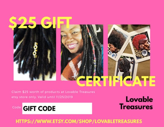 Loc Jewelry Gift Certificate. Gift Certificate for Christmas. Gift for Kwanzaa. Last Minute Gift. Etsy Gift Certificate