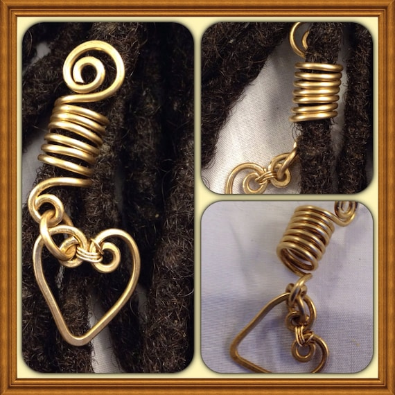 Heart Bronze  Dreadlock Bead Accessories Natural Hair Gift