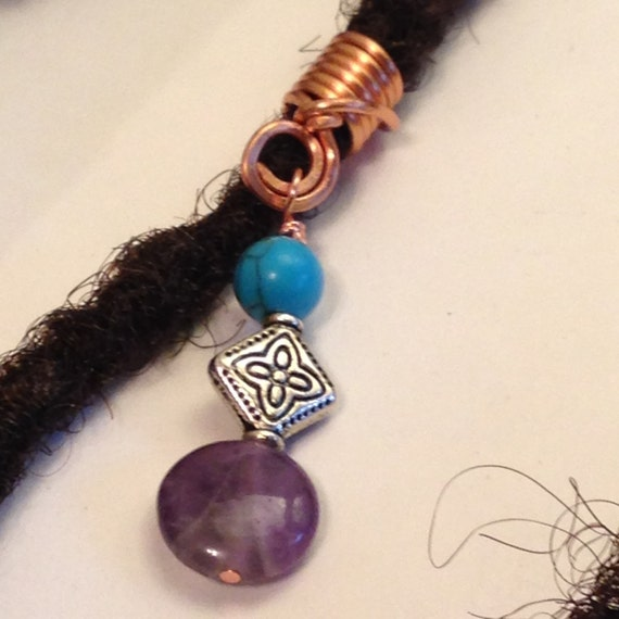 Turquoise Amethyst Hair Bead Dread Locs Dreadlock Jewelry