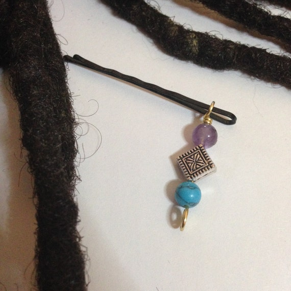 Amethyst Turquoise Hair Pin Bead Jewelry Locs, Dreadlocks, Braids and Twists