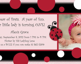 Personalized Photo Ladybug First Birthday Invitations, announcements