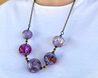 """Glass bead necklace of large handmade lampwork glass beads in lavender and pink, shiny silver leaf, 26"""", blown hollows, flamework, lampwork"""