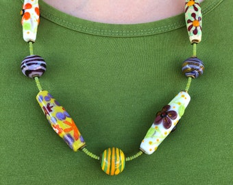 """Colorful handmade lampwork glass beads in whimsical necklace, 24"""", flamework"""
