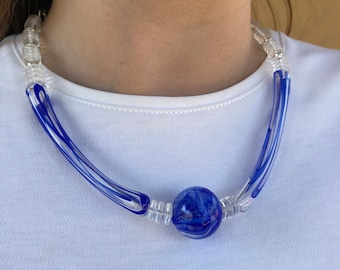Long blue glass beads in necklace, 19 inches, handmade lampwork blown hollow beads, Art Deco, flamework