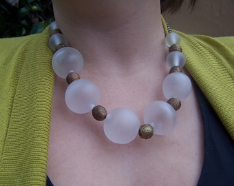 """Lampwork necklace of translucent large blown hollow glass beads, etched,  19,"""" statement necklace"""