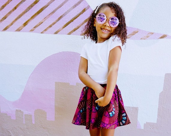 Girls African Ankara Print Skirt Skort // Baby Toddler Girls Outfit // nb - 9/10 //  Purple Burgundy Ankara